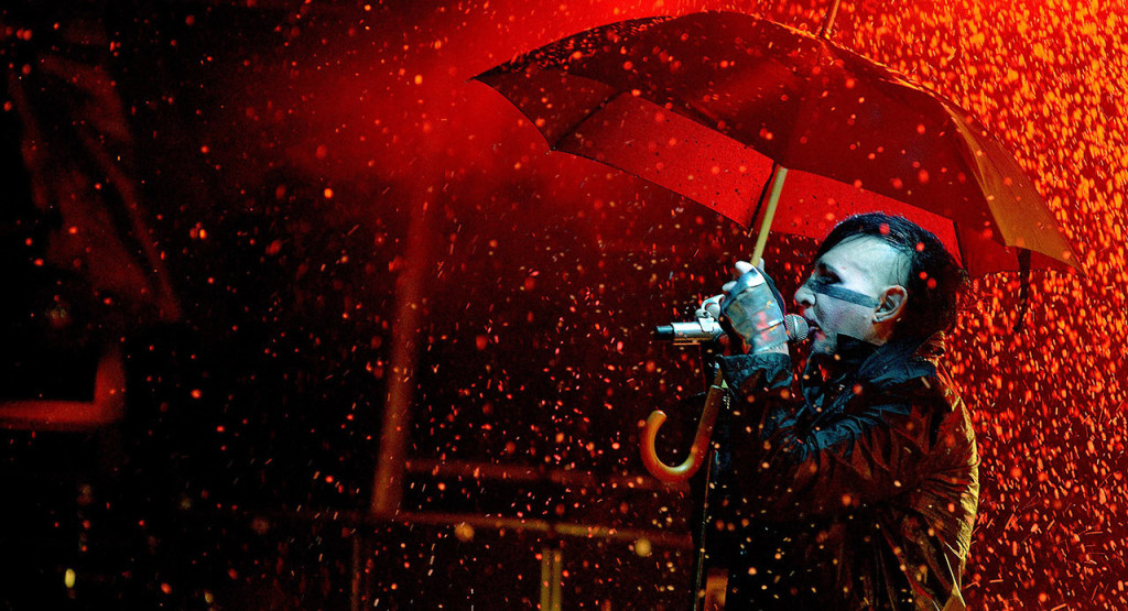 LIEGE, BELGIUM - JULY 06: Marilyn Manson performs on stage during Les Ardentes Festival on July 6, 2012 in Liege, Belgium. (Photo by Didier Messens/Getty Images)