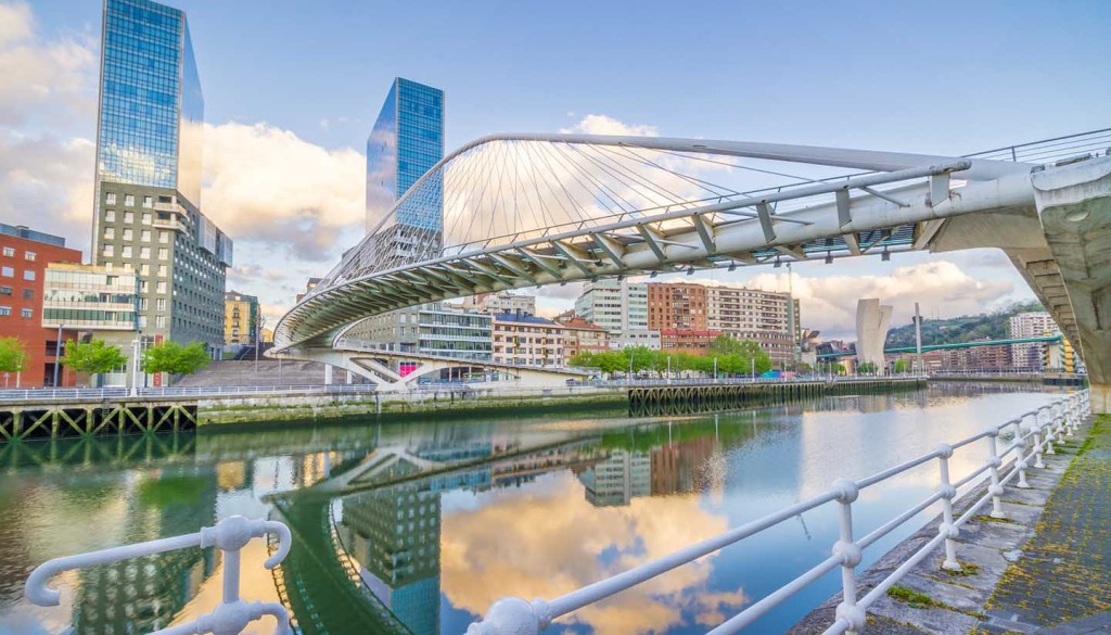 The Pedro Arrupe footbridge is a modern bridge crossing the Nervion Bridge in Bilbao, Basque Country, Spain.