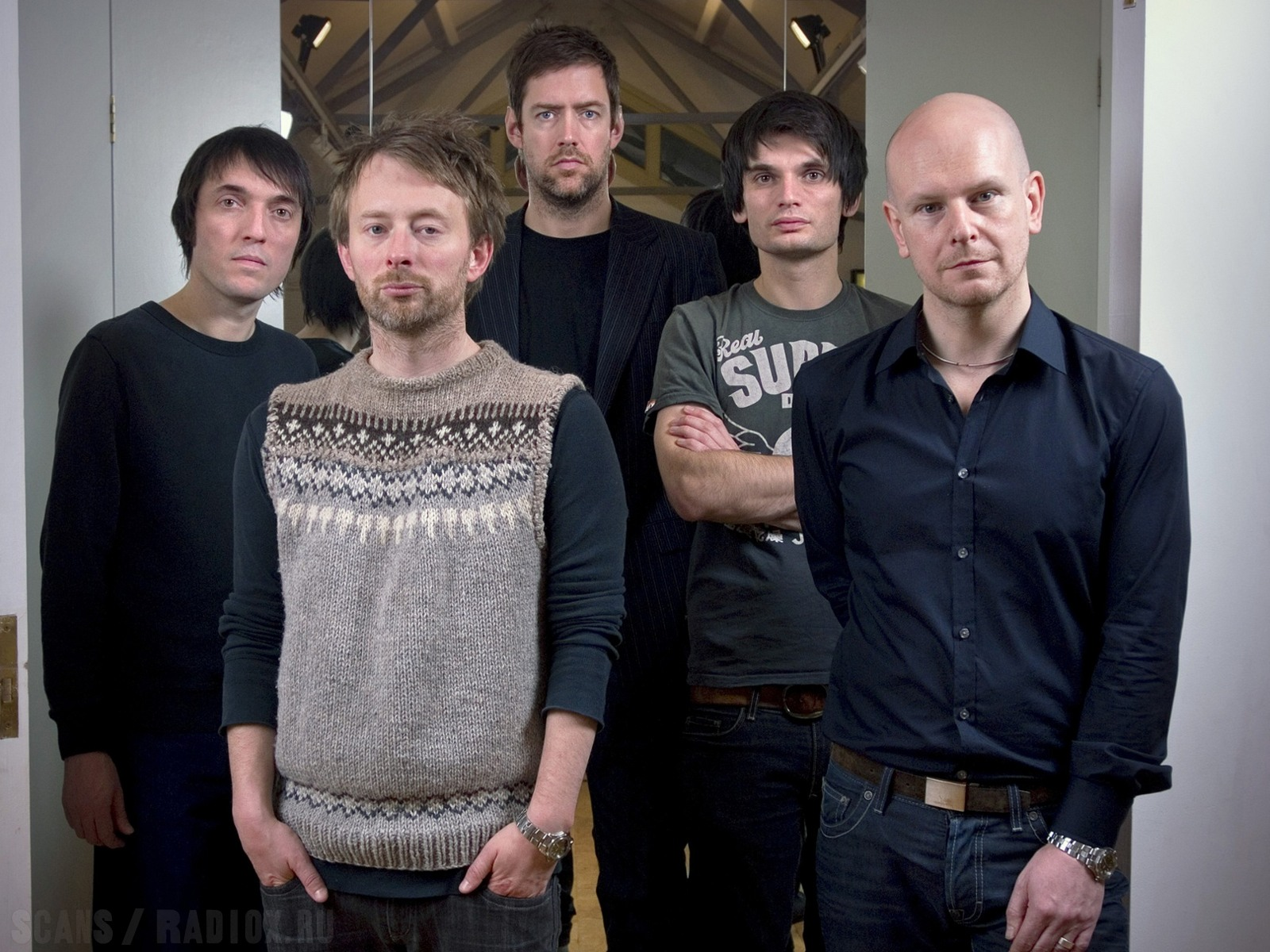 UK. Oxford based band Radiohead photographed in the attic of the Oxford Playhouse theatre.
