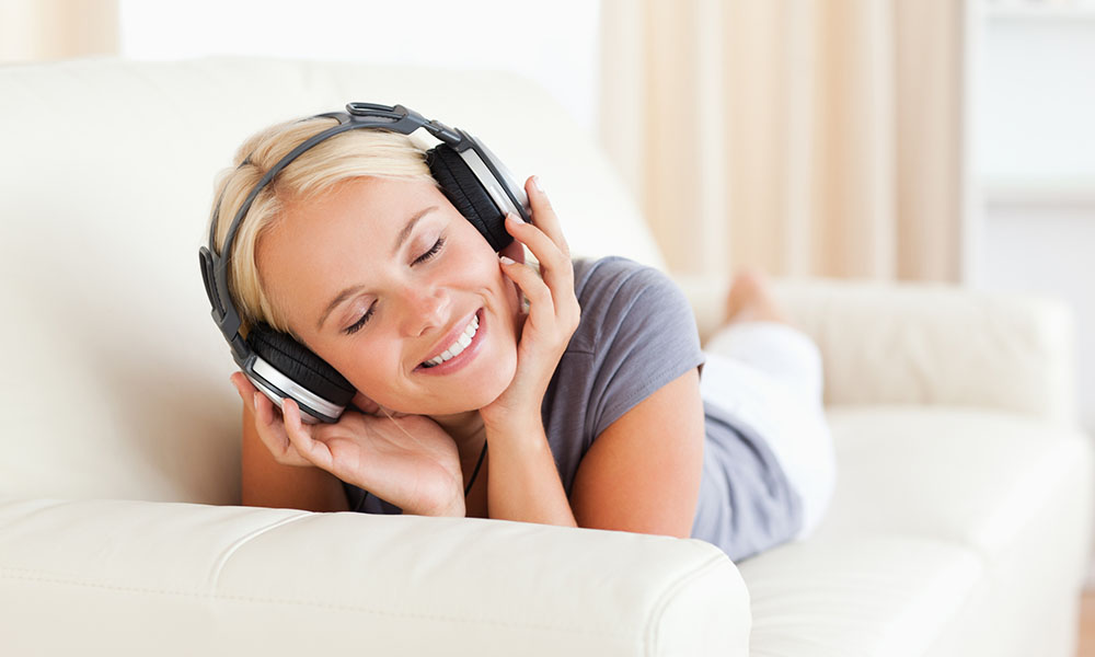 Woman enjoying some music