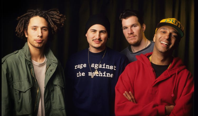 Rage Against The Machine, Zack De La Rocha, Tim Commerford, Brad Wilk, Tom Morello, Vaartkapoen (VK), Brussels, Belgium, 06/02/1993. (Photo by Gie Knaeps/Getty Images)